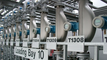 Coriolis mass flow meters in loading bay